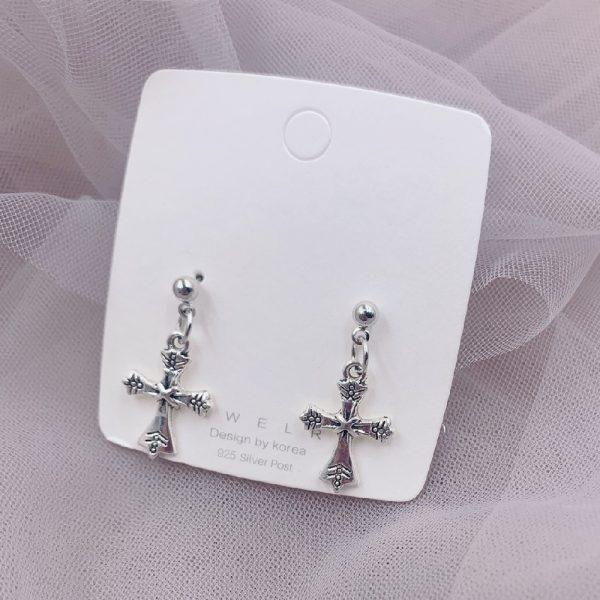 E-girl E-boy Gothic Punk Cross Pendant Drop Dangle Earrings 3