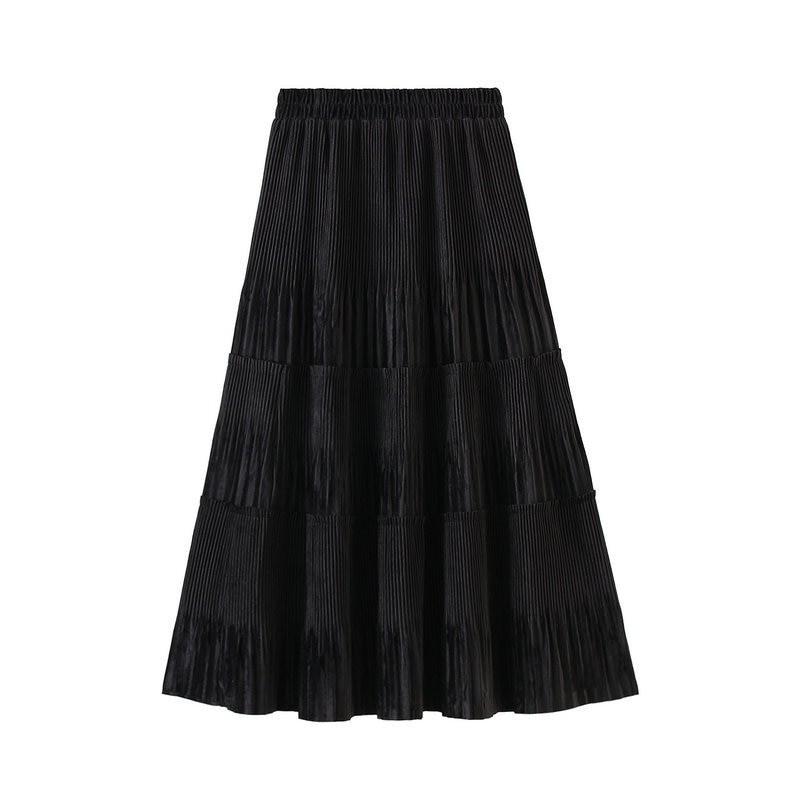 Harajuku Vintage Long Velvet Pleated Skirts 54