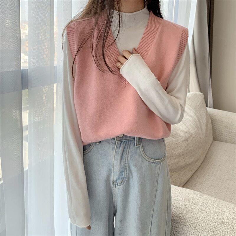Soft Girl E-girl Harajuku Knitted V-Neck Sleeveless Vest 59