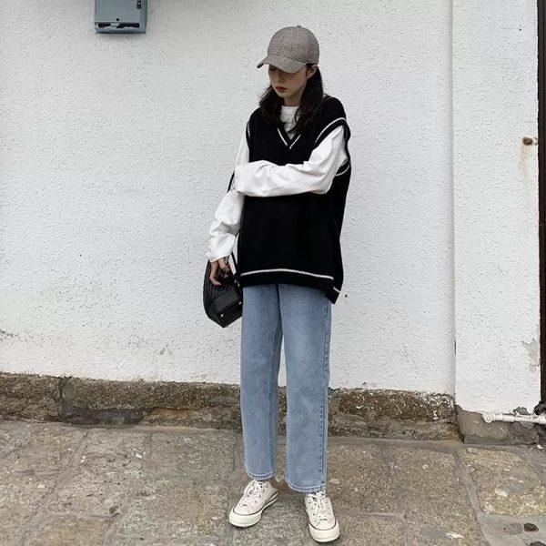 Harajuku Grunge E-girl  V-neck Knitted Vest 1