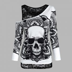 E-girl Gothic Punk Y2K Off Shoulder T-Shirt with Skull print 1