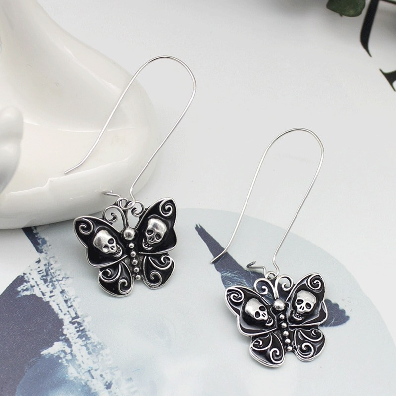 E-girl Gothic Punk Black Butterfly Wings Inlaid With Skulls 42