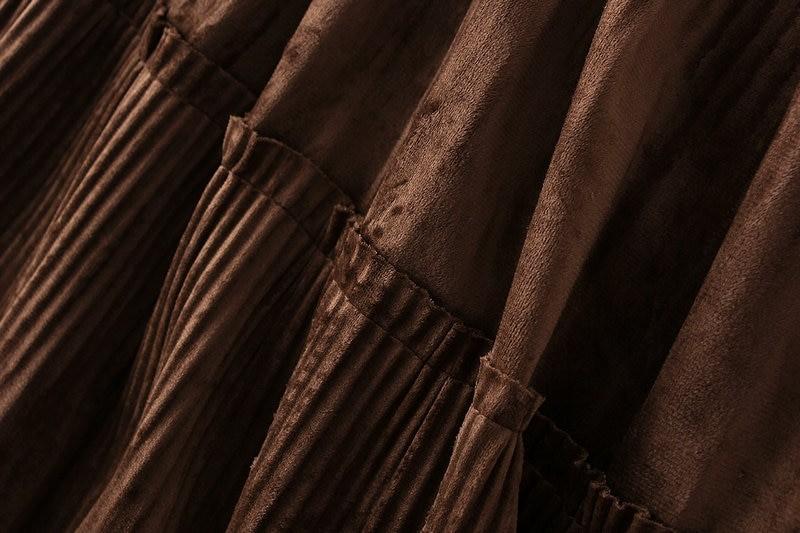 Harajuku Vintage Long Velvet Pleated Skirts 44