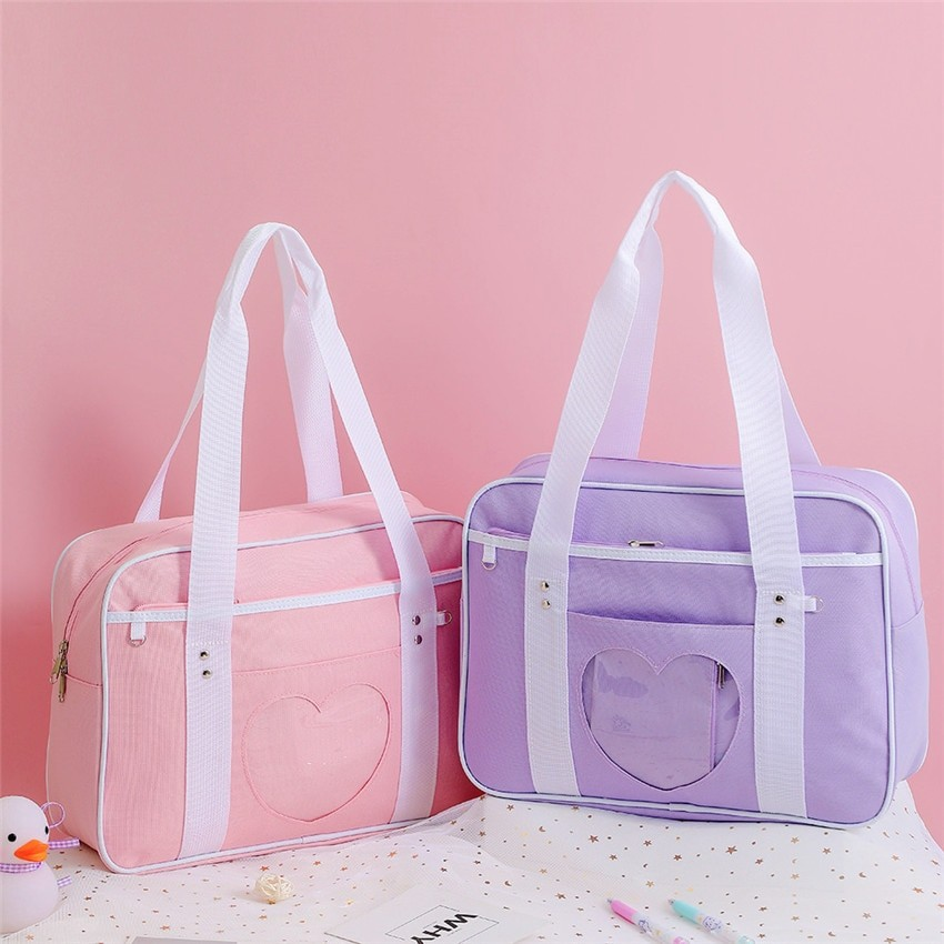 Soft Girl Egirl Harajuku Canvas Large Handbags 44