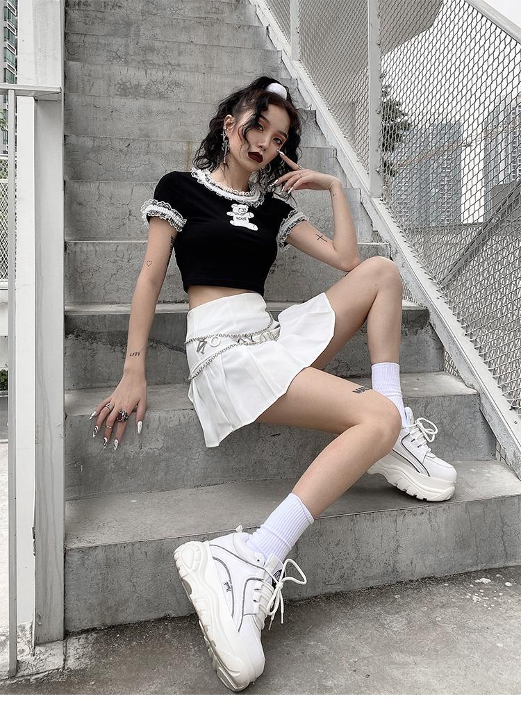 E-girl Gothic Y2K Crop Top with Bear Print 41
