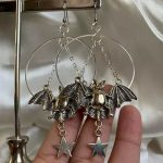 E-girl E-boy Gothic Moon, Star and Bat Earrings 3