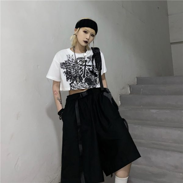E-girl Gothic Punk Crop Top with gothic print 4