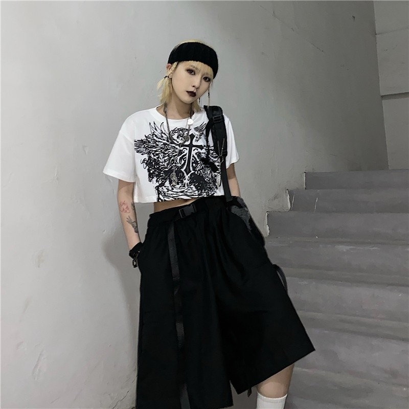 E-girl Gothic Punk Crop Top with gothic print 45