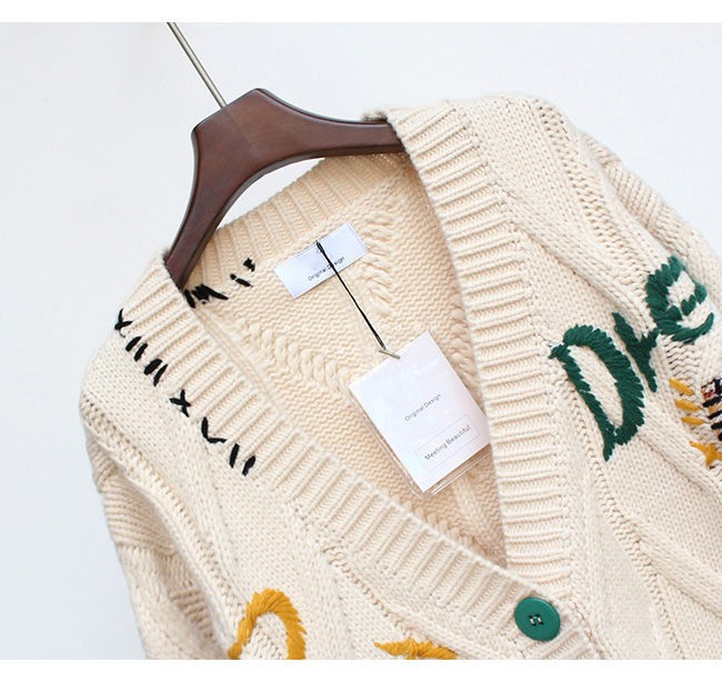 Harajuku Y2K  Cottagecore Loose Knitted Cardigan with Pockets and Embroidery 45