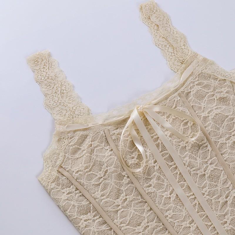 E-girl Soft girl Y2K Retro Bow Lace Top 52