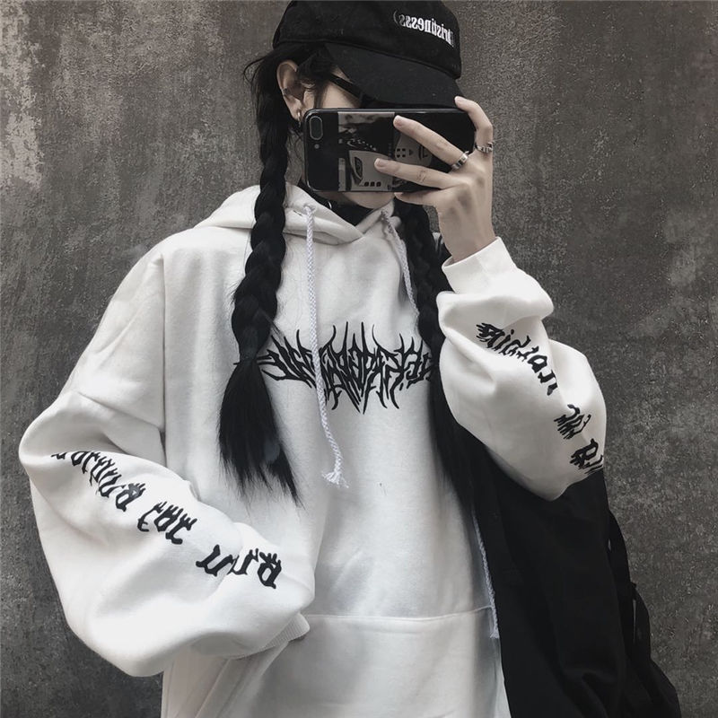 Harajuku Gothic E-girl Loose Hoodie with gothic print 44