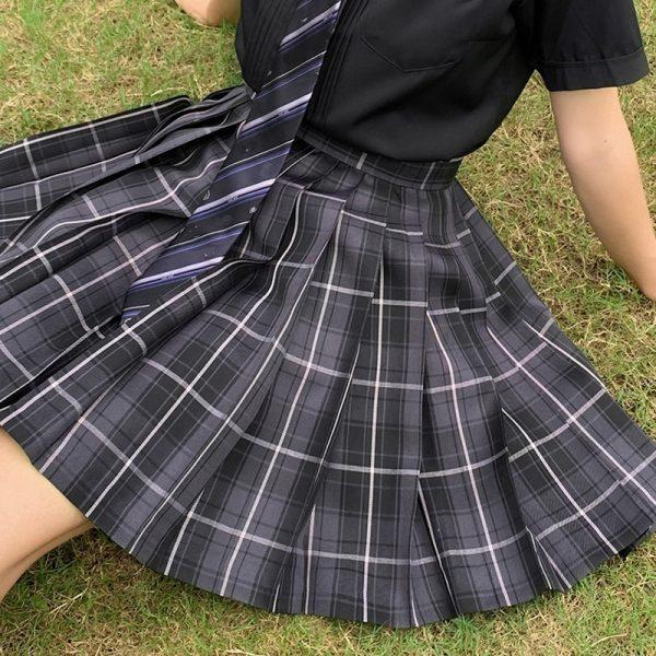 Harajuku E-girl Soft girl Pleated A-Line Plaid Skirts 1