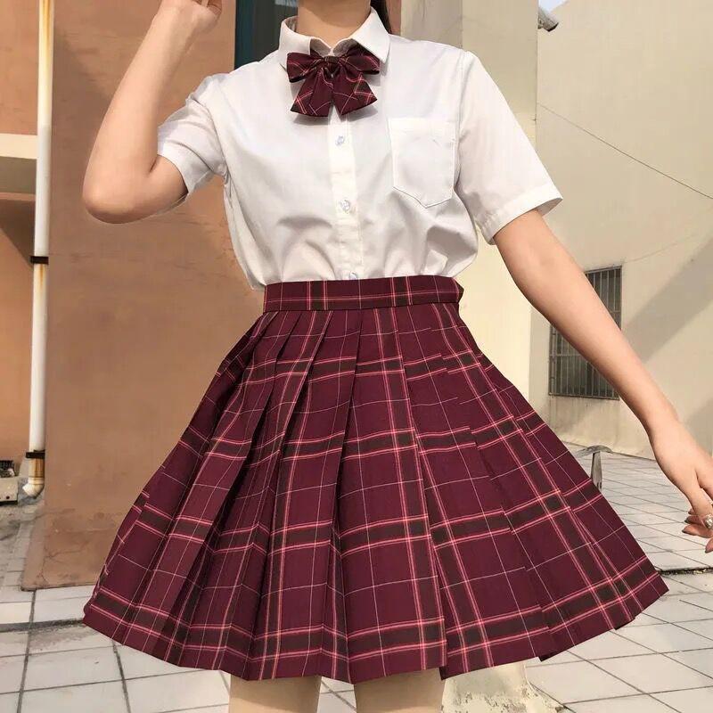 Harajuku E-girl Soft girl Pleated A-Line Plaid Skirts 48
