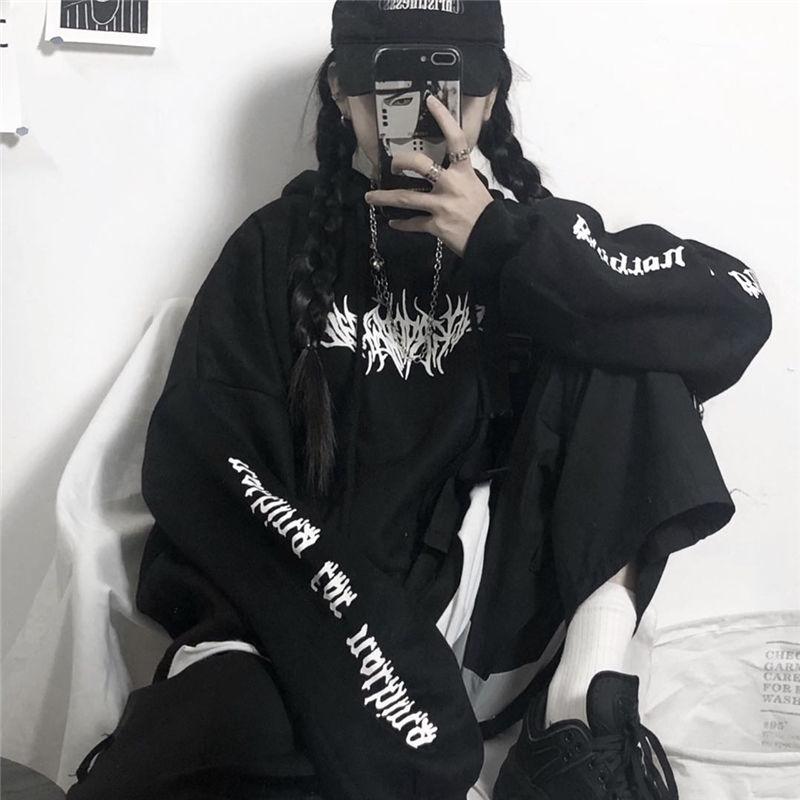 Harajuku Gothic E-girl Loose Hoodie with gothic print 42