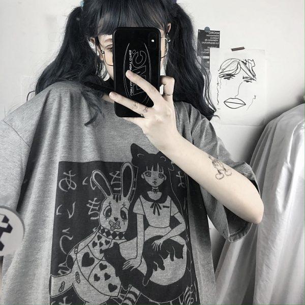 E-girl Harajuku Punk Aesthetic T-Shirt with cartoon print 6