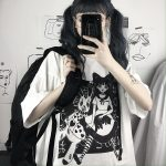 E-girl Harajuku Punk Aesthetic T-Shirt with cartoon print 2