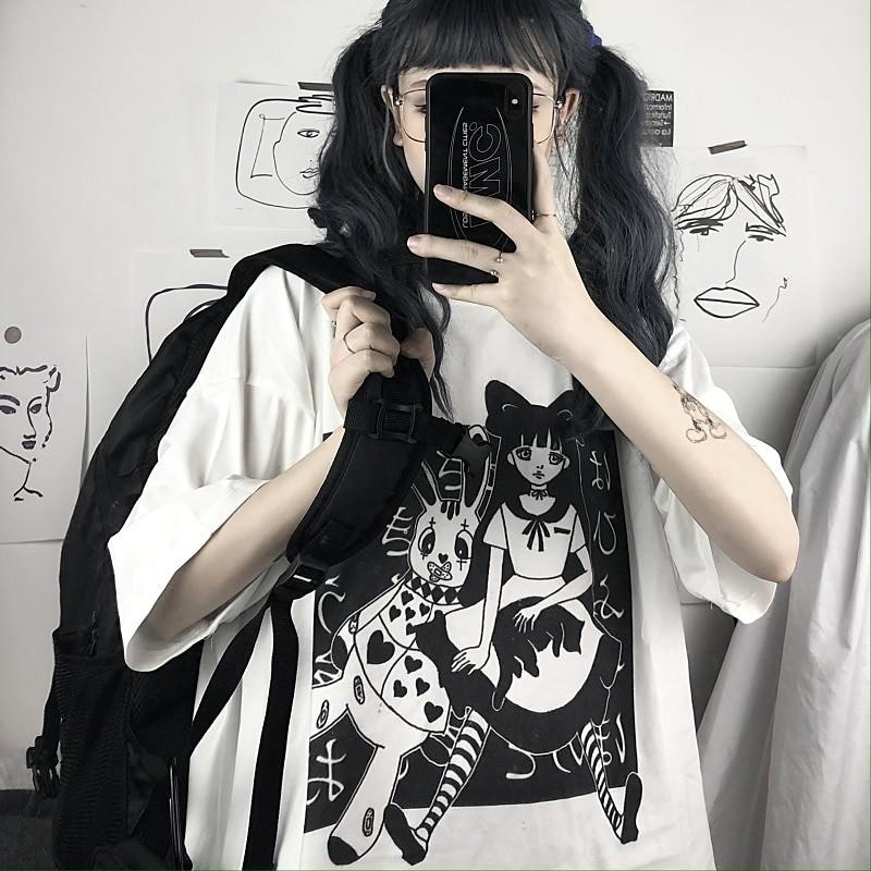 E-girl Harajuku Punk Aesthetic T-Shirt with cartoon print 46