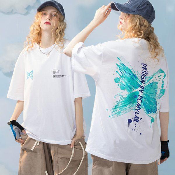 Harajuku E-girl E-boy Butterfly Print Loose T-shirt 4