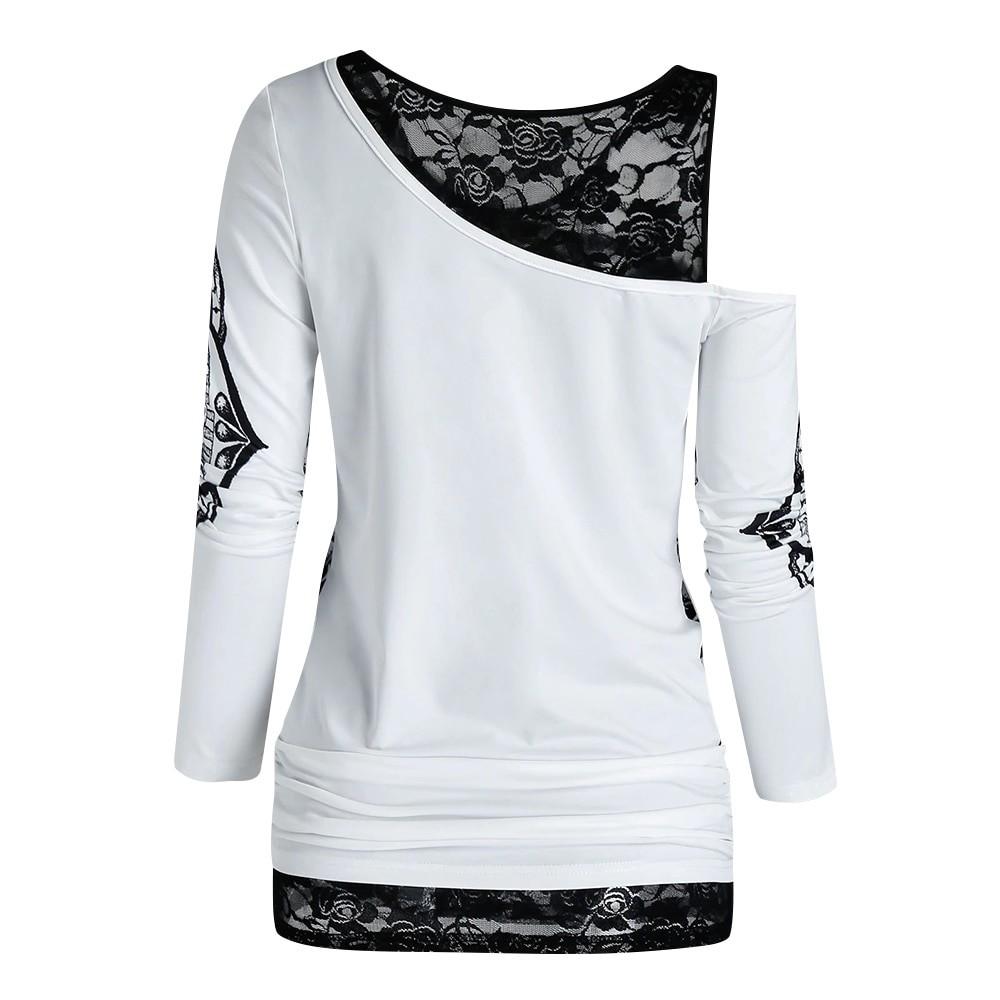 E-girl Gothic Punk Y2K Off Shoulder T-Shirt with Skull print 43