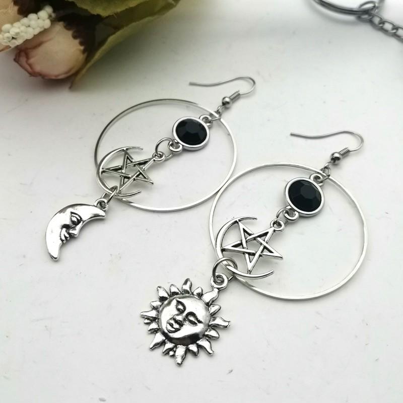 E-girl Gothic Crescent and Pentagram Long Earrings 44