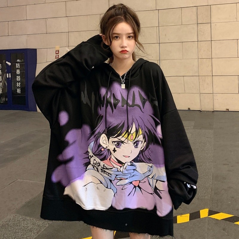 E-girl E-boy Harajuku Anime Cute Girl Oversized Hooded Sweatshirt 43