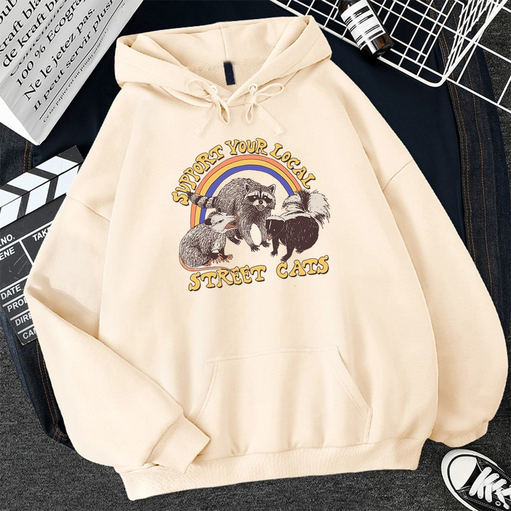 E-girl E-boy Harajuku Hoodie with Support Your Local Street Cats Print 46