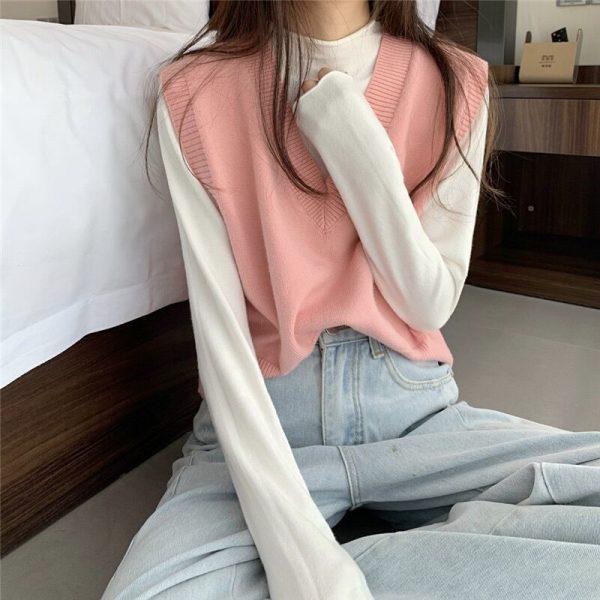 Soft Girl E-girl Harajuku Knitted V-Neck Sleeveless Vest 3