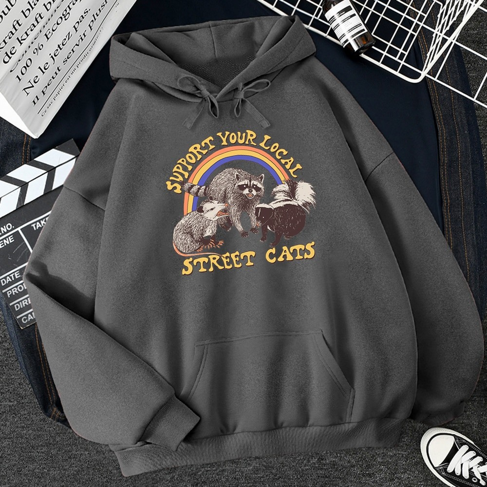 E-girl E-boy Harajuku Hoodie with Support Your Local Street Cats Print 50