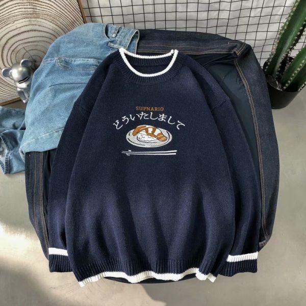 Harajuku E-boy E-girl Knitted Sweater with sushi embroidery 8