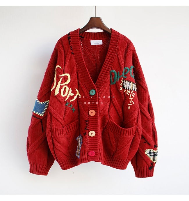 Harajuku Y2K  Cottagecore Loose Knitted Cardigan with Pockets and Embroidery 49