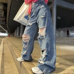 Harajuku Y2K Loose Ripped jeans with high waist 3