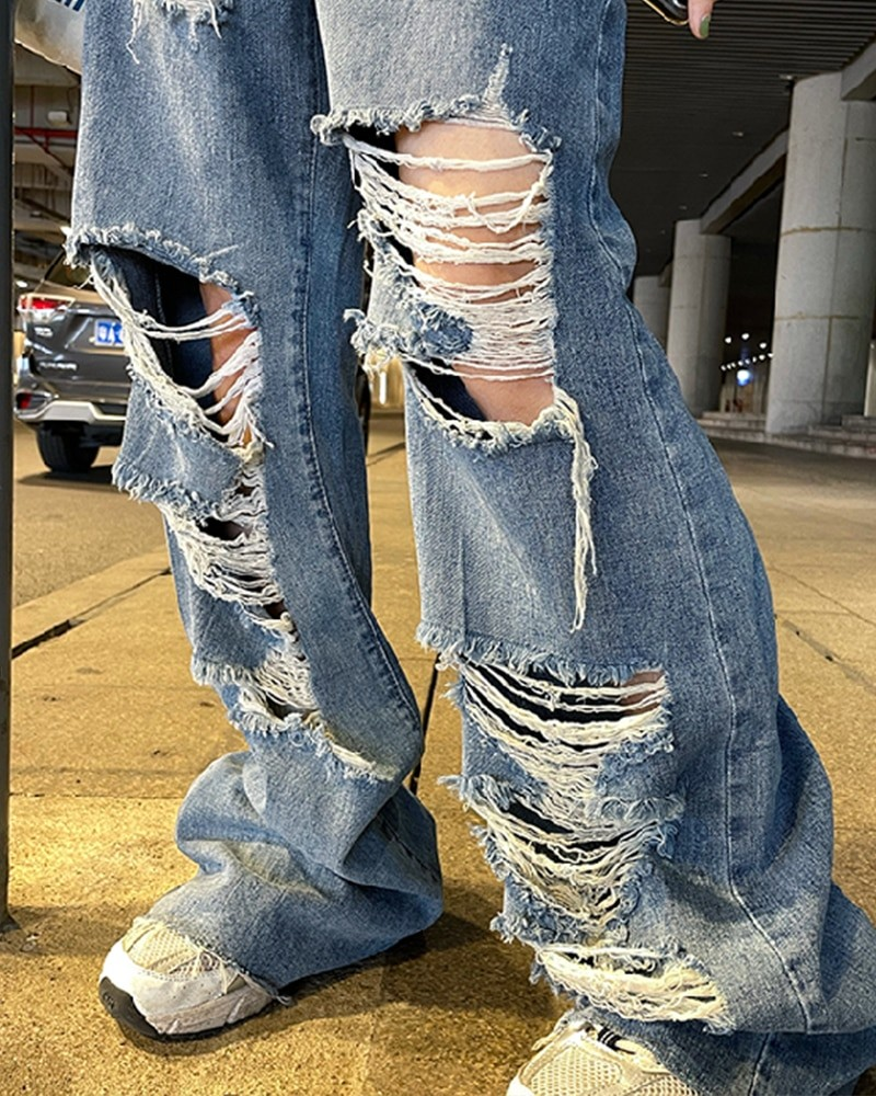 Harajuku Y2K Loose Ripped jeans with high waist 48