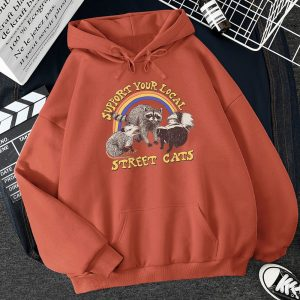 E-girl E-boy Harajuku Hoodie with Support Your Local Street Cats Print  1