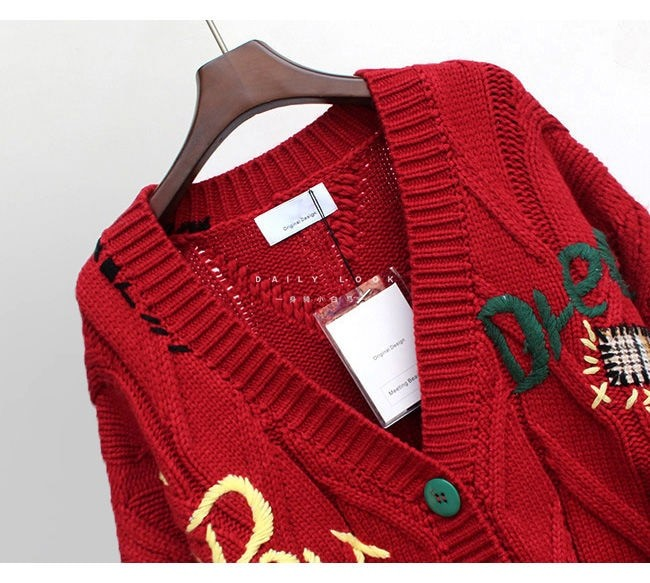 Harajuku Y2K  Cottagecore Loose Knitted Cardigan with Pockets and Embroidery 52