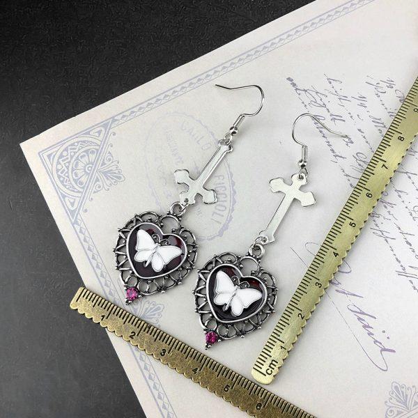 E-girl Goth Butterfly Earrings with Cross & Heart 6
