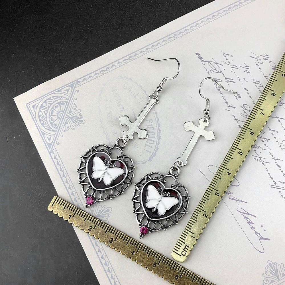 E-girl Goth Butterfly Earrings with Cross & Heart 46
