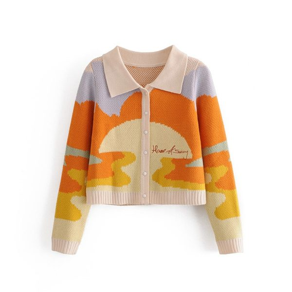 Y2K Soft girl Vintage French Style Sunshine Print Short Knitted Sweater 4