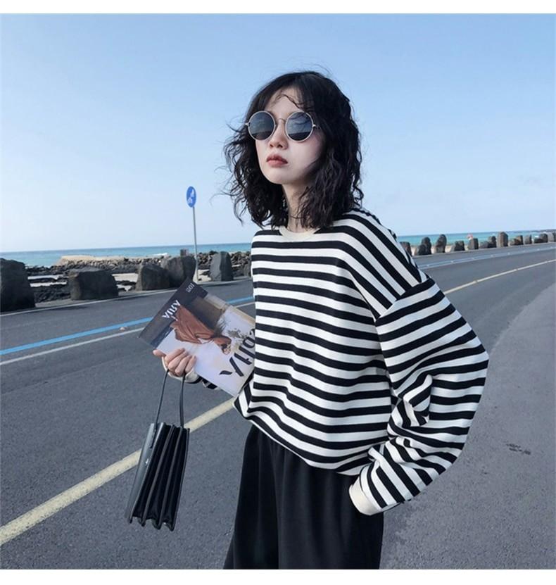 Harajuku E-girl Grunge striped cotton Sweatshirt 48