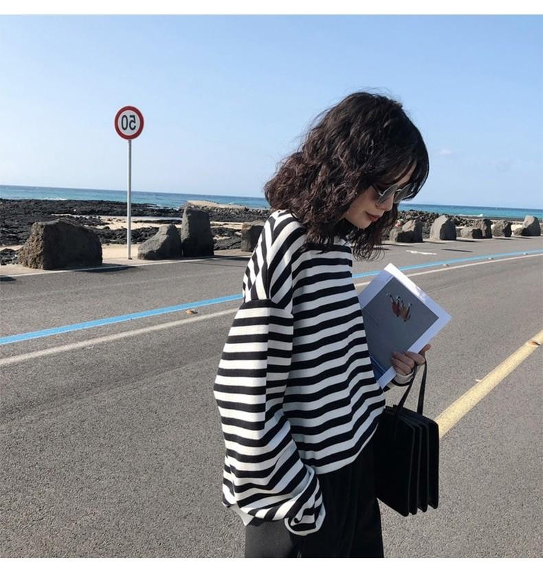 Harajuku E-girl Grunge striped cotton Sweatshirt 49