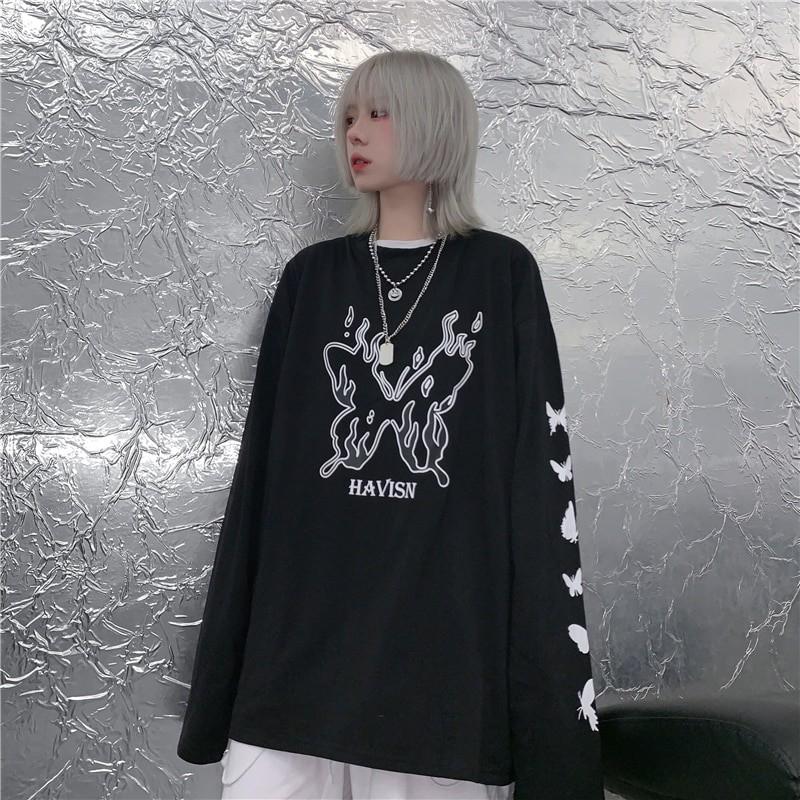 E-girl Gothic Punk Harajuku T-shirt with butterflies print 46