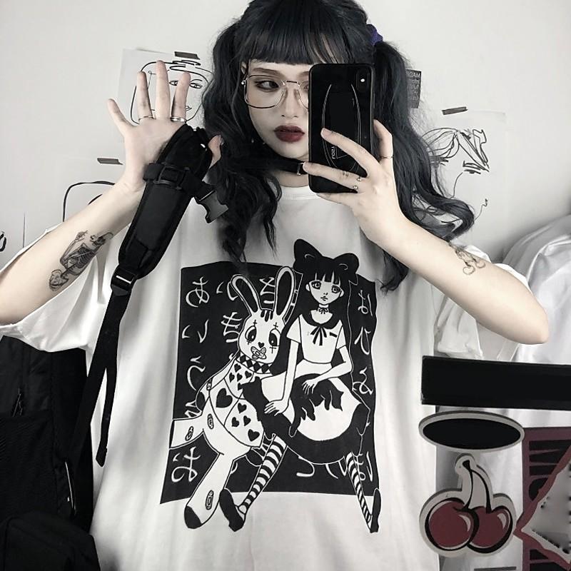 E-girl Harajuku Punk Aesthetic T-Shirt with cartoon print 44