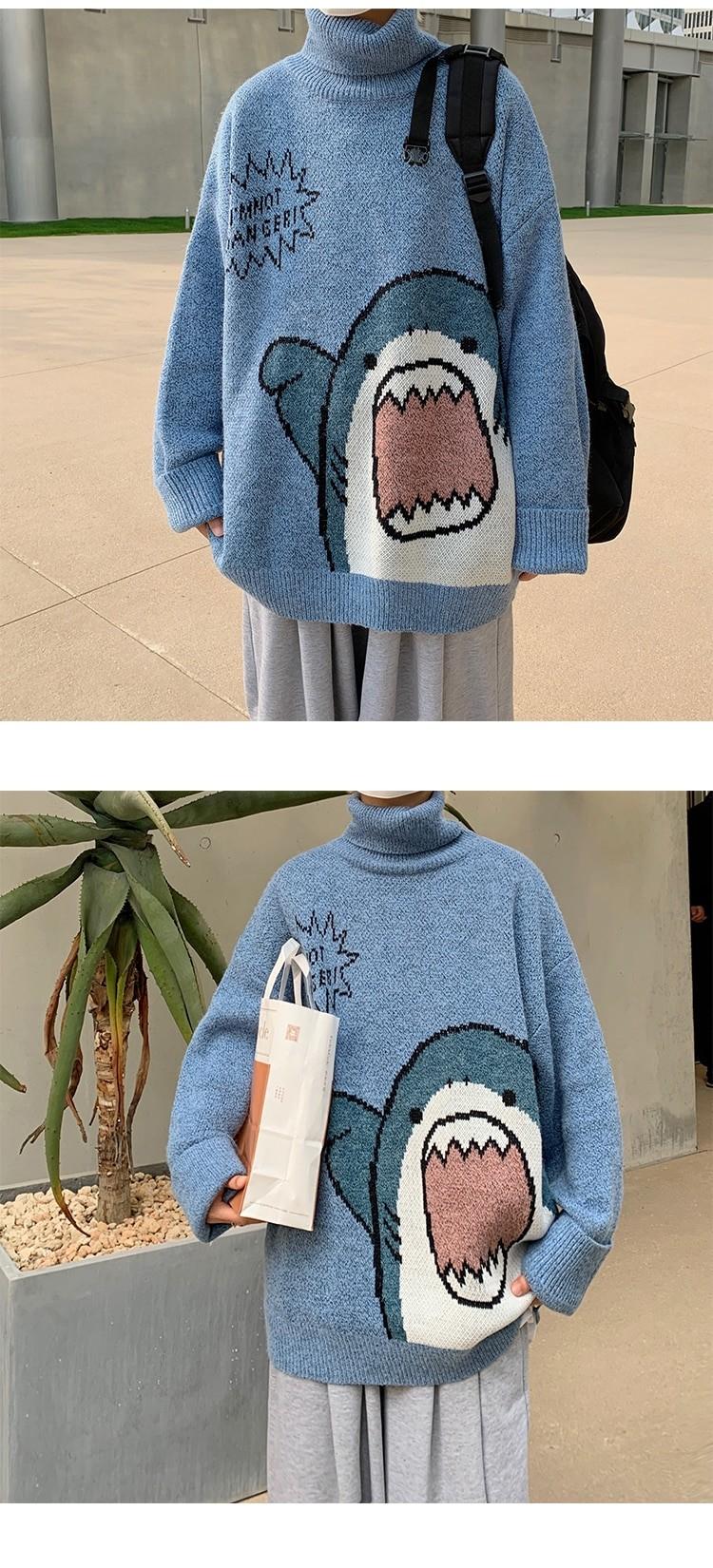 Harajuku E-boy E-girl Turtlenecks Oversized Shark Sweater 41