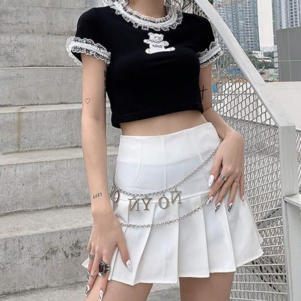 E-girl Gothic Y2K Crop Top with Bear Print 2