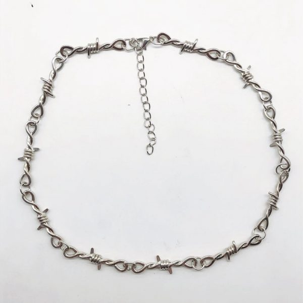 E-girl E-boy Gothiс Punk Necklace with Blades and Barbed Wire 4