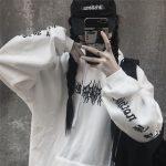 Harajuku Gothic E-girl Loose Hoodie with gothic print 2