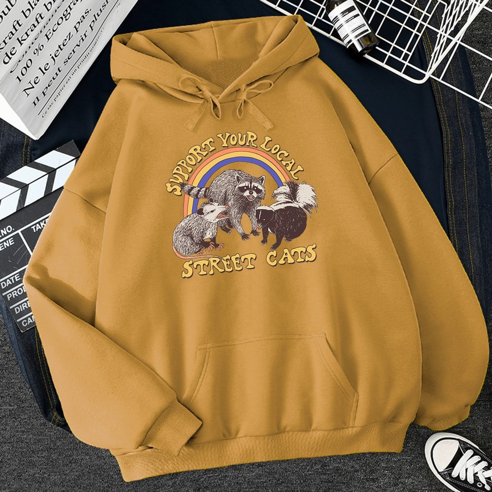 E-girl E-boy Harajuku Hoodie with Support Your Local Street Cats Print 45