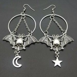 E-girl E-boy Gothic Moon, Star and Bat Earrings 1
