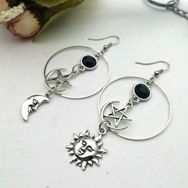 E-girl Gothic Crescent and Pentagram Long Earrings 3