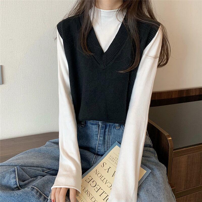 Soft Girl E-girl Harajuku Knitted V-Neck Sleeveless Vest 55