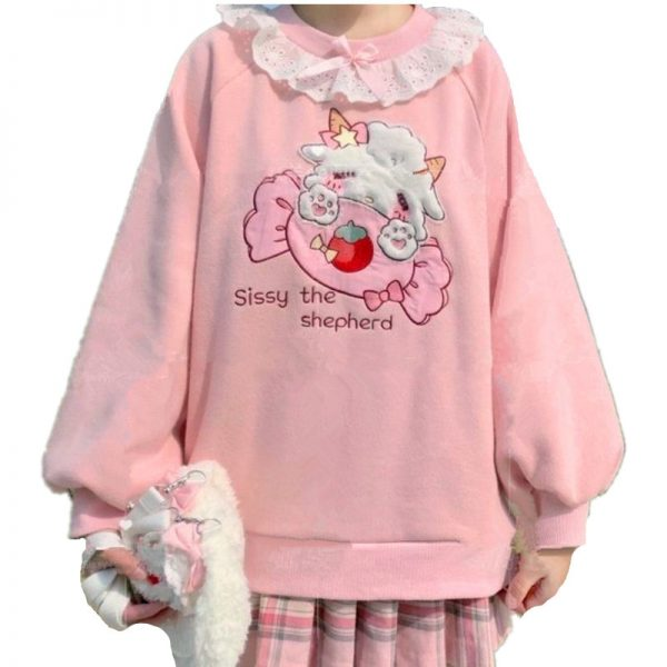 Harajuku Soft girl  Cute Pullover Lamb And Candy Embroidery 1